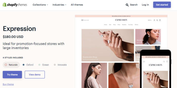 Shopify theme Expression gives you a lot of features and functionality.