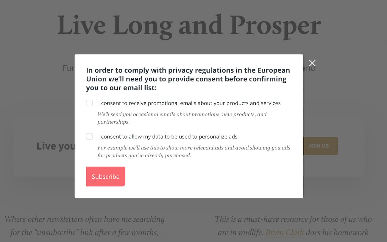 Step 2. Consent popup appearing after the user provided their email address.
