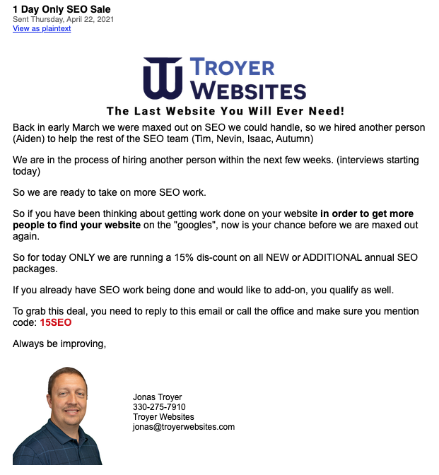 Troyer Websites Promotional Email 1
