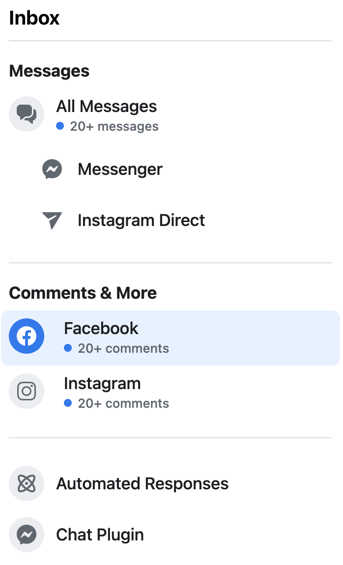 Facebook's inbox showcasing comments on posts