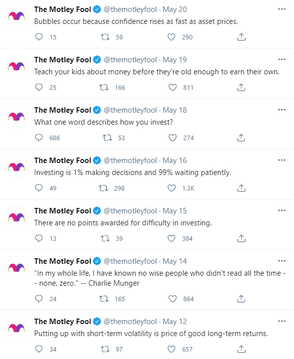 A view of The Motley Fool's Twitter feed from May 2021