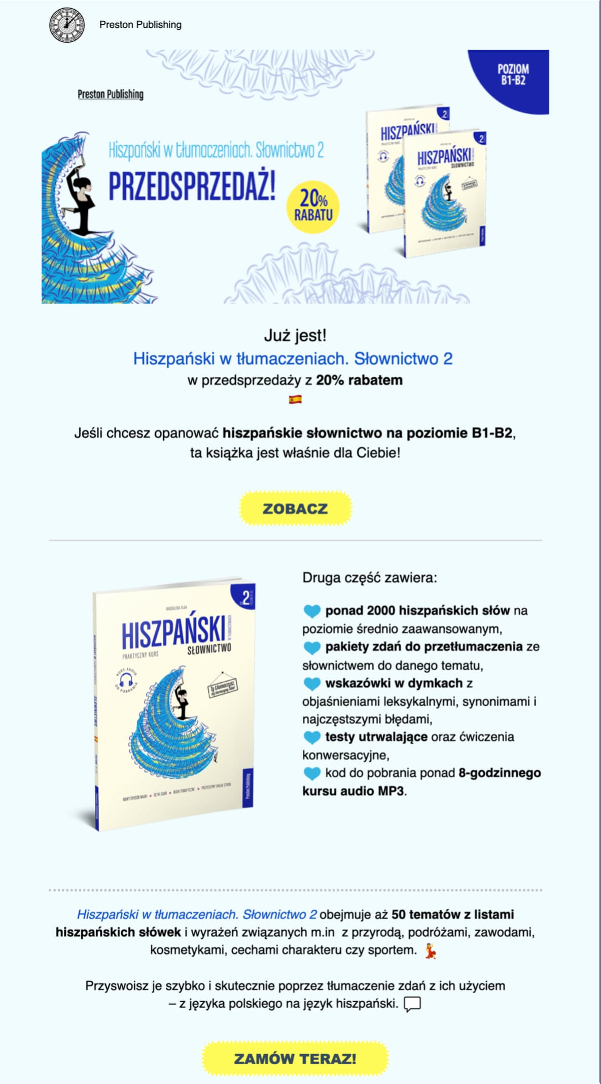 An email promoting the second volume of a Spanish vocabulary coursebook.