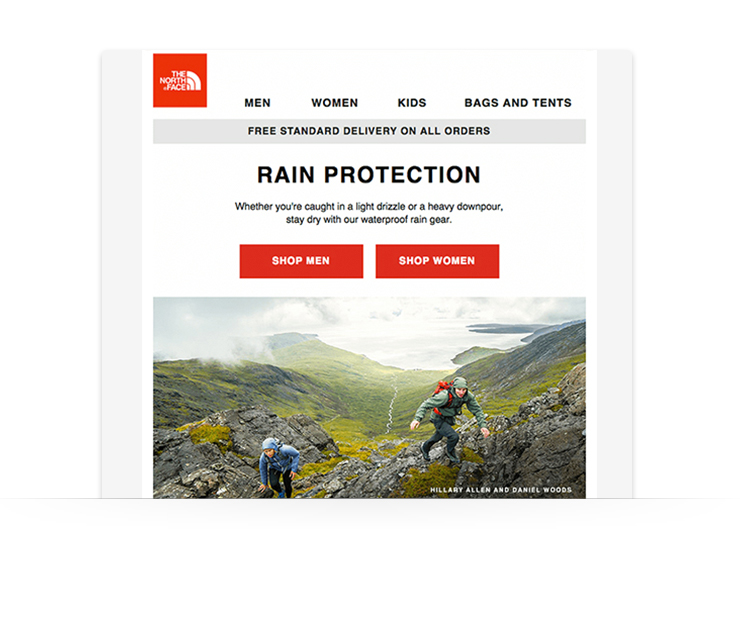 email newsletter example from The North Face showing bold image