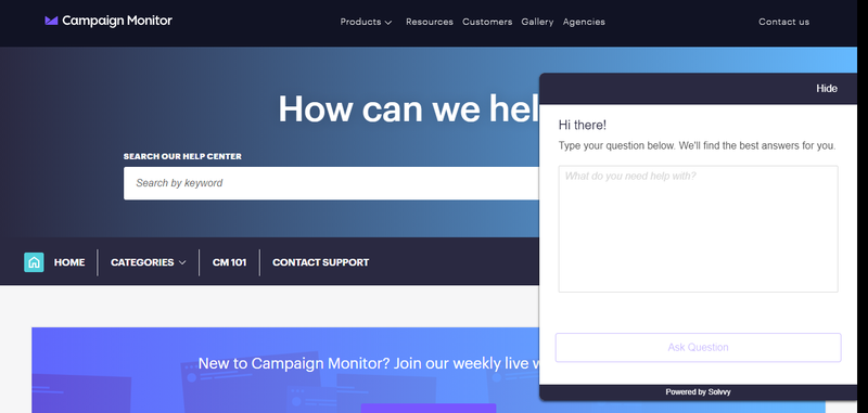 Help window on Campaign Monitor's website.