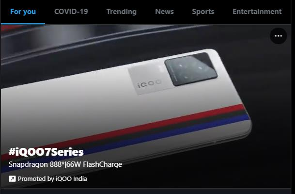 """promoted trend about the iQOO7 series in the """"for you"""" section of Twitter trends"""