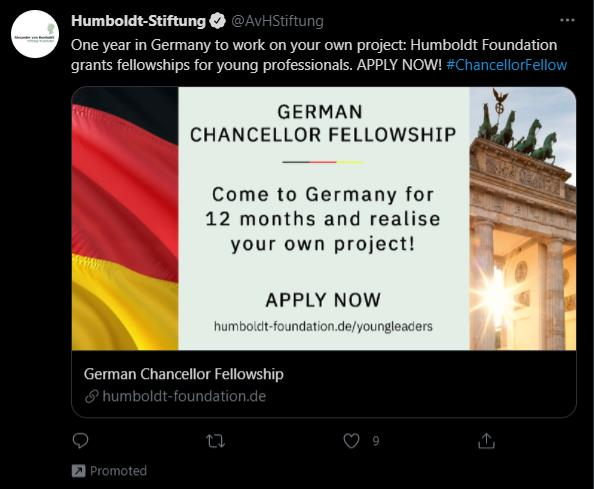 example of promoted tweet from hymboldt-stiftung