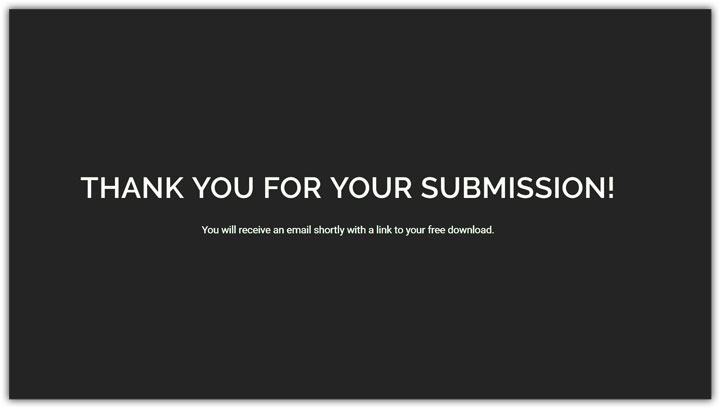 Simple thank you page example.
