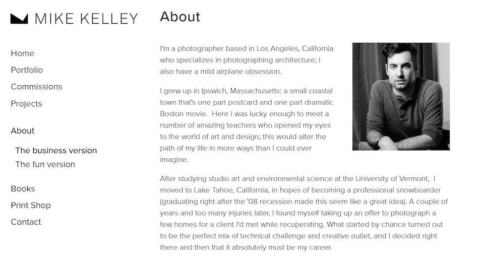Photographer Mike Kelley About Me Page.