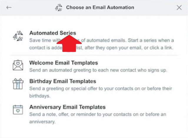 Limited automation options in Constant Contact.
