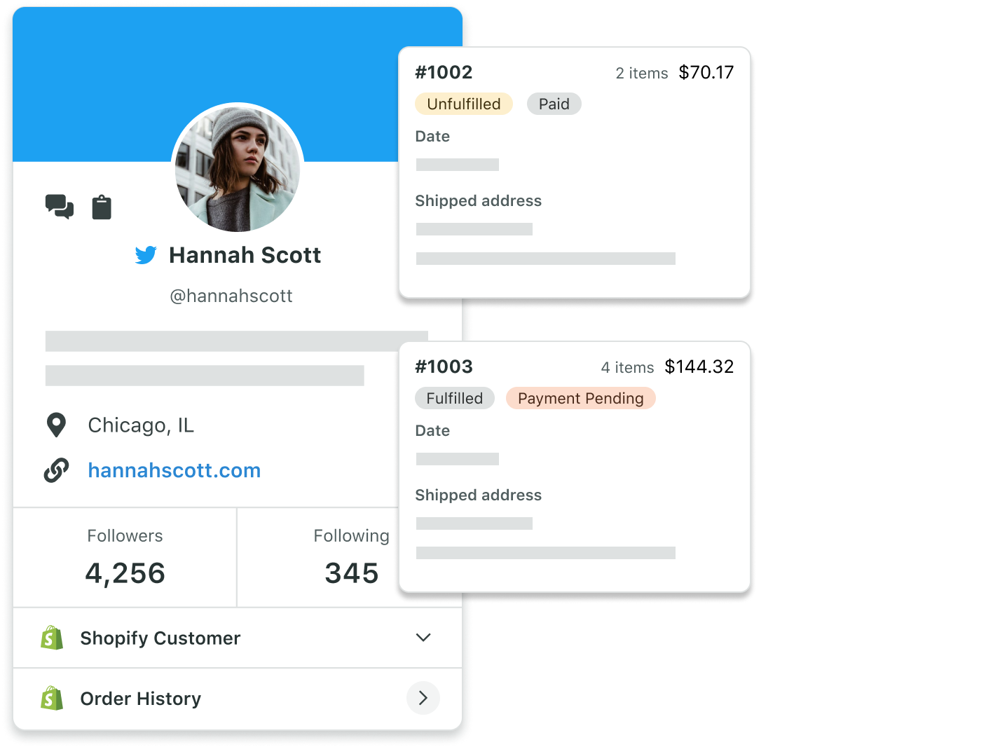 use Sprout Social's commerce tool to keep track of customer history